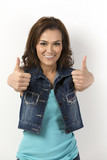 Asian Woman with both thumbs up