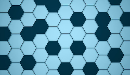Blue abstract hexagonal cell background