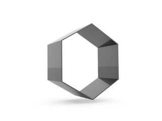 Black hexagonal cell rendered isolated