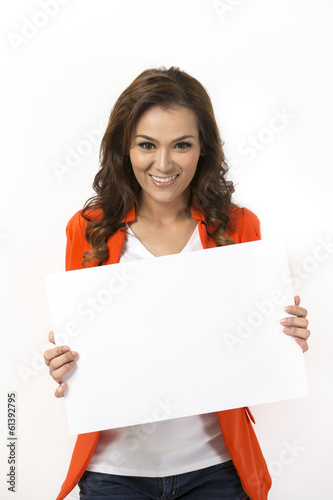 Asian woman with blank board ready for your message.