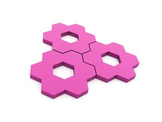 Pink hexagonal gears isolated