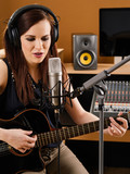 Woman in a recording studio poster