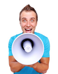 Comic portrait of a young man with megaphone