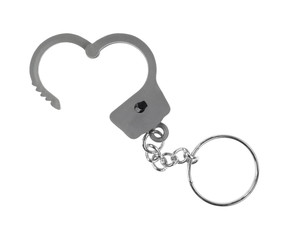 Toy handcuff keychain opened on white background