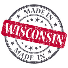 made in Wisconsin red round grunge isolated rubber stamp