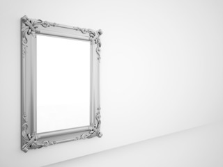 Mirror with vintage silver frame