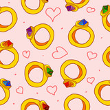 Seamless pattern with hearts and rings