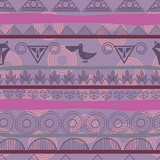 Seamless ethnic pattern with the image of pelicans