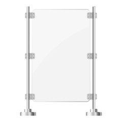 Glass screen with metal racks. eps10