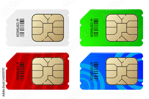 Set of color SIM cards