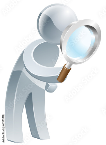 Magnifying glass silver man