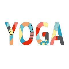 Name of yoga studio in positive colors. Vector illustration