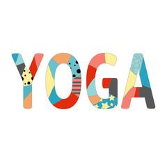 Name of yoga studio in positive colors. Vector illustration
