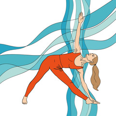 Girl in yoga pose on the abstract waves background