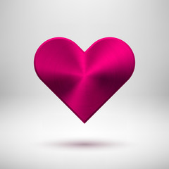 Magenta Abstract Heart Sign with Metal Texture