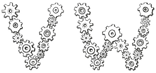 Vector alphabet of caricature letters from spinning gears