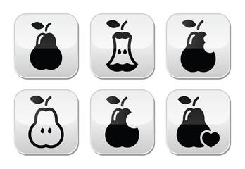 Pear, pear core, bitten, half vector buttons