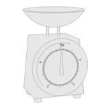 cartoon image of kitchen scales