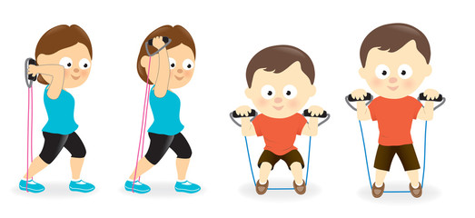 Woman and man exercising with resistance band tubes