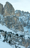 Morning winter Gardena Pass  in Dolomites of South Tyrol, Italy.