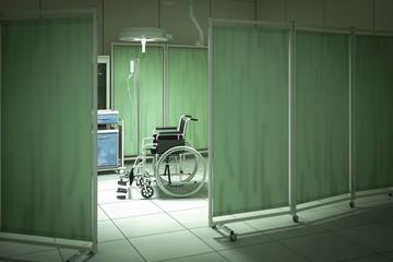 Wheelchair in hospital room