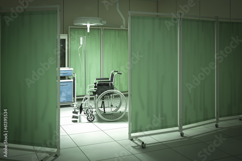 Wheelchair in hospital room