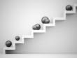 Spheres on stairs rendered