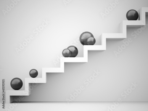Spheres on stairs rendered