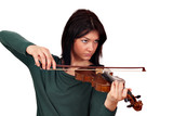 beautiful girl play violin studio shot