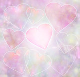 Watercolour effect hearts background