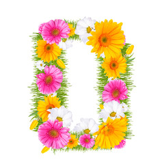 "Spring color letter with flower ""O"""