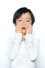 Asian boy crying ( showing pain)