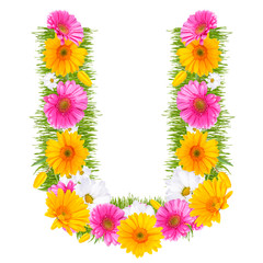 "Spring color letter with flower ""U"""