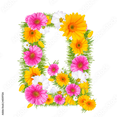 "Spring color letter with flower ""Q"""
