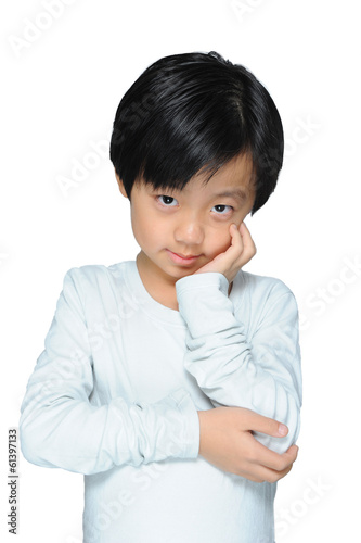 Cute sensitive Asian boy