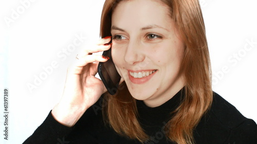 beautiful girl talking on the phone fun