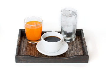 water, orange juice and coffee