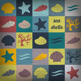 vintage seashells flat wallpaper