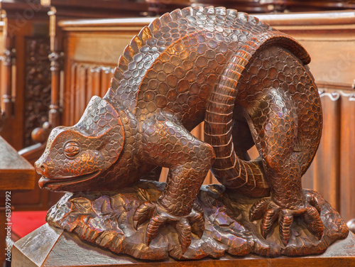 Bratislava - Reptile symbolic carved sculpture from cathedral
