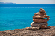 stack of stones on the beach and sea background. Set stones to r
