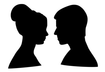 Silhouette of man and woman on white background