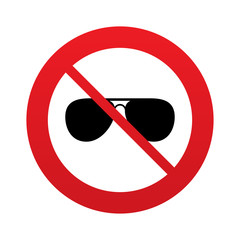 No Aviator sunglasses sign icon. Pilot glasses.