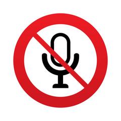 Don`t record. Microphone icon. Speaker symbol.