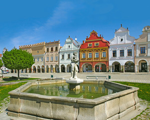Town Telc, houses and fountain on the main square, UNESCO WH