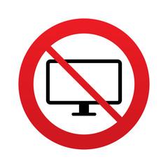 No Computer widescreen monitor sign icon.