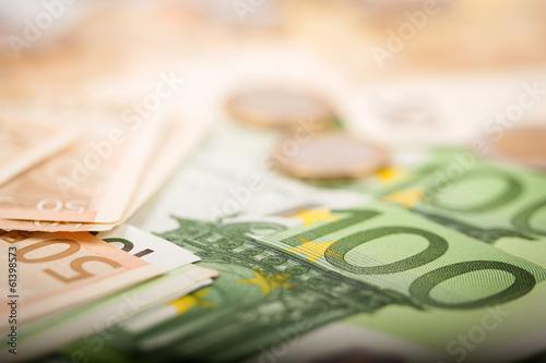 Leinwanddruck Bild Euro Banknotes