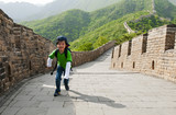 Young boy outdoor activity: hiking the Great Wall