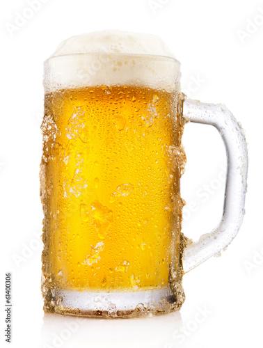 Leinwandbild Motiv Frosty mug of beer