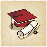 Graduation cap and diploma old background - vector illustration