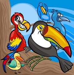 cute birds group cartoon illustration